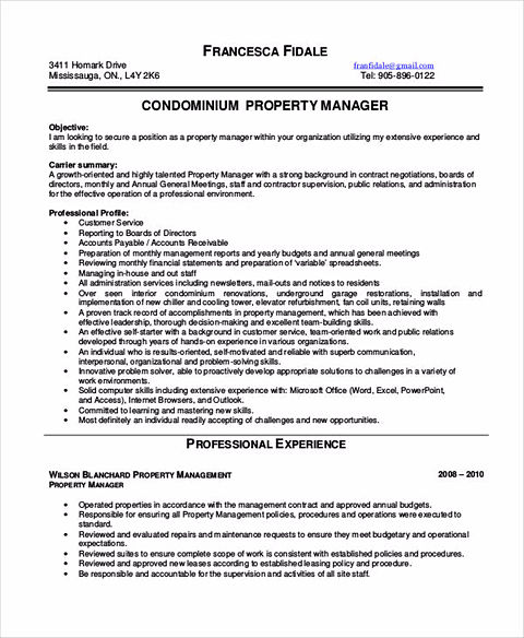 Property Manager Resume | Cover Letter