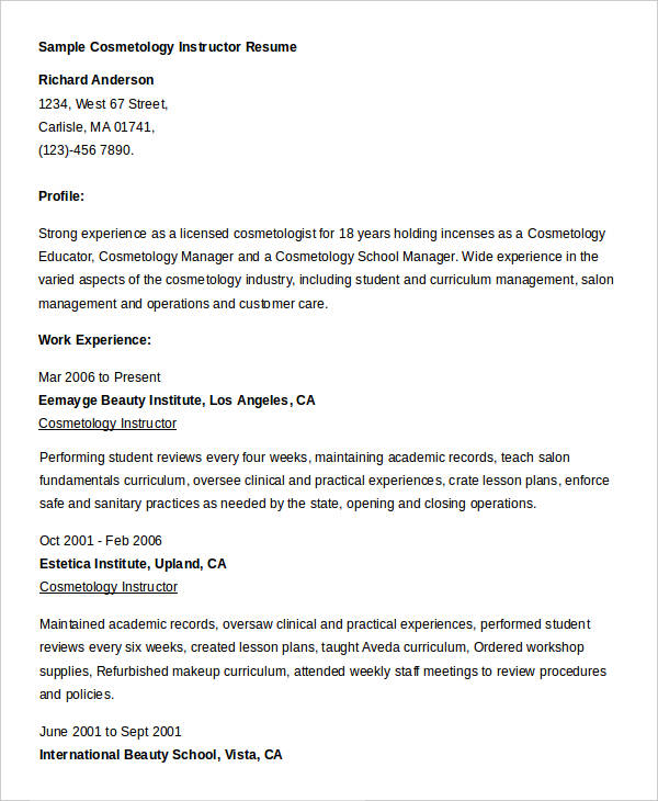 Cosmetologist Resume Template Nanny Resume Example Sample - cosmetologist resume sample