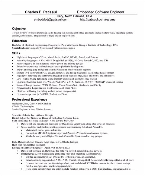 Software Engineer Resume Sample and Tips