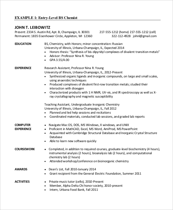 chemistry phd cv template