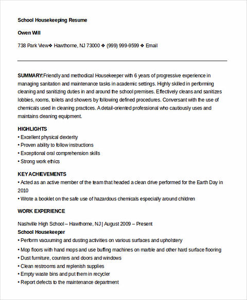 housekeeping resume - Housekeeper Resume