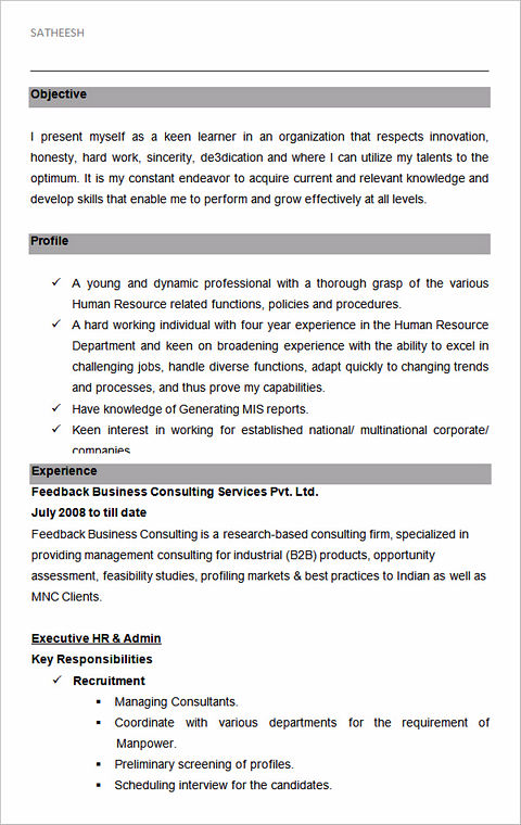 sample resume for hr executive position