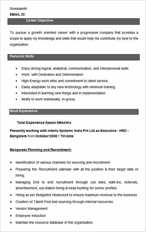 hr sample resume for hr executive in india