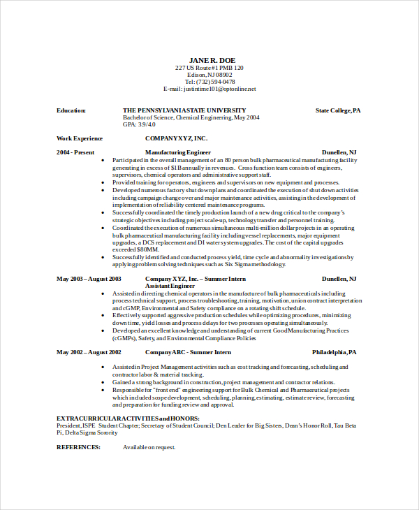 resume examples chemical engineer