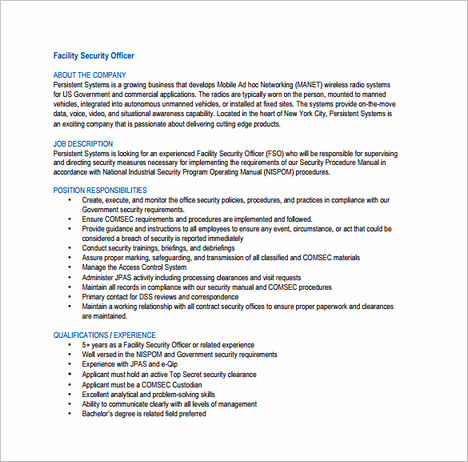 Tips to Write Your Security Officer Resume - security manual template