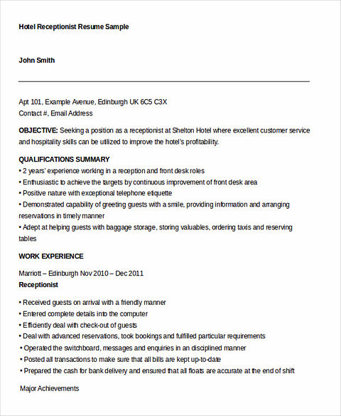 resume for hotel receptionist