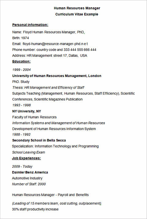 best resume human resources manager