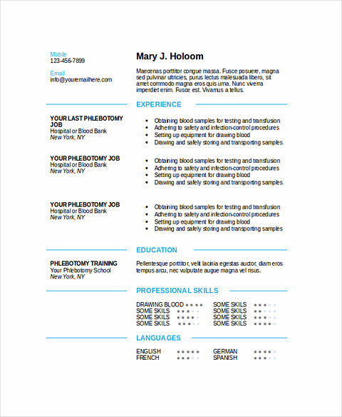 Phlebotomy Resume Sample and Tips - phlebotomist resume example