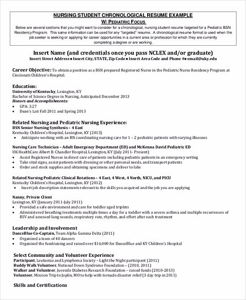 Nursing Student Resume Samples and Tips - nursing student resume examples