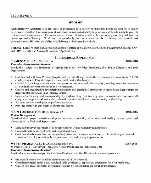administrative assistant resume template download in pdf sample
