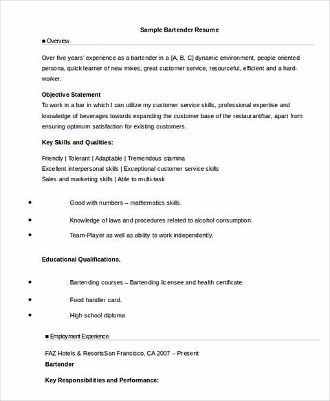bartender responsibilities for resumes