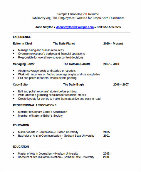 professional chronological resume templates