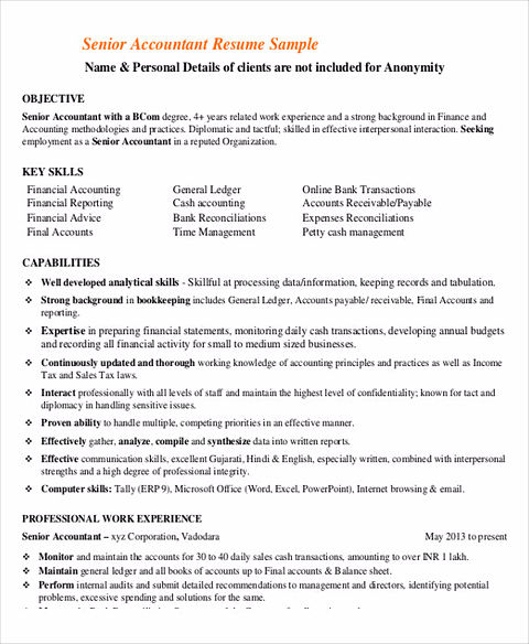 Senior Accountant Resume Example  BesikEightyCo
