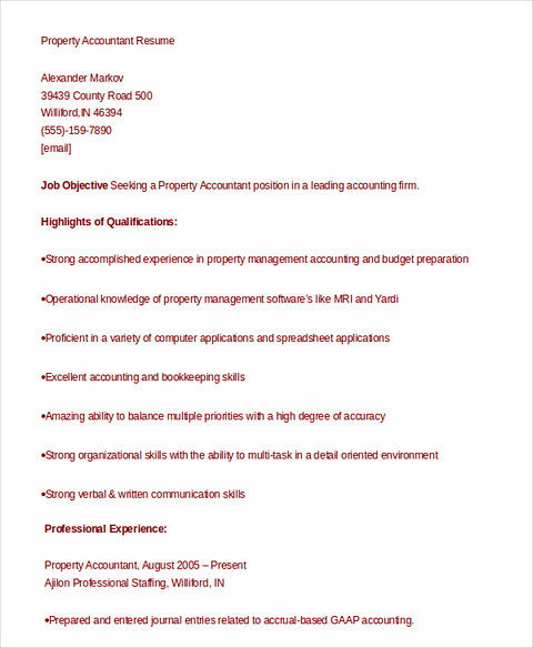 Outstanding Accountant Resume Sample for Junior and Senior - property accountant resume