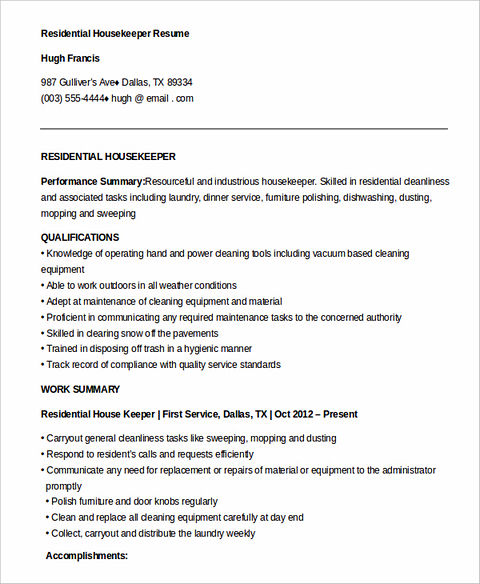 resume description for housekeeping