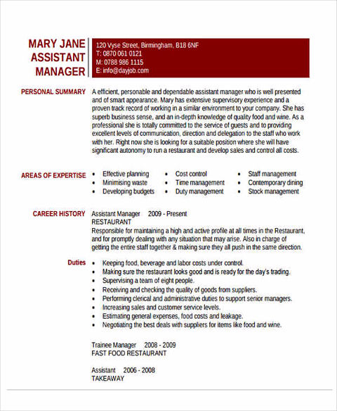 resume examples for assistant manager assistant manager resume