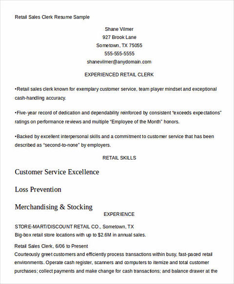 Sales Clerk Sample Resume Sales Clerk Resume Example Sample Cash - Order Entry Clerk Resume