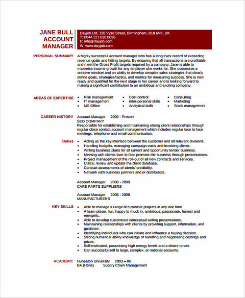 excellent account manager resume sample account manager resume sample - Account Manager Resume