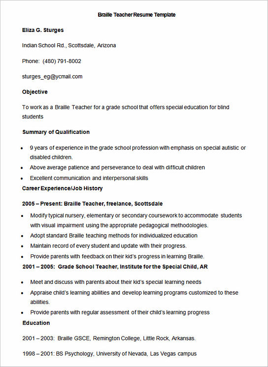 resume model for teacher job