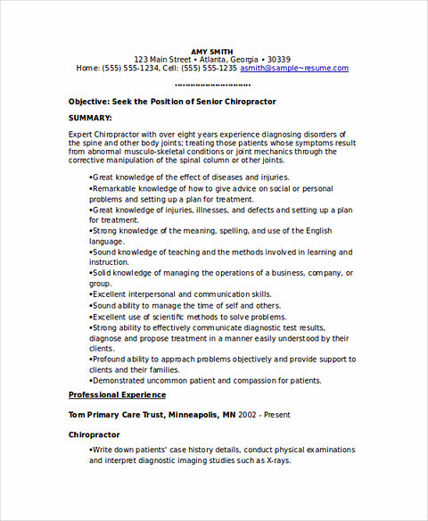 Chiropractor resume node2003 cvresumeasprovider state good and clear objectives in chiropractic assistant resume altavistaventures Choice Image