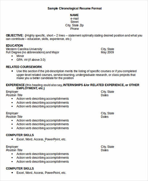 sample of business resume letter