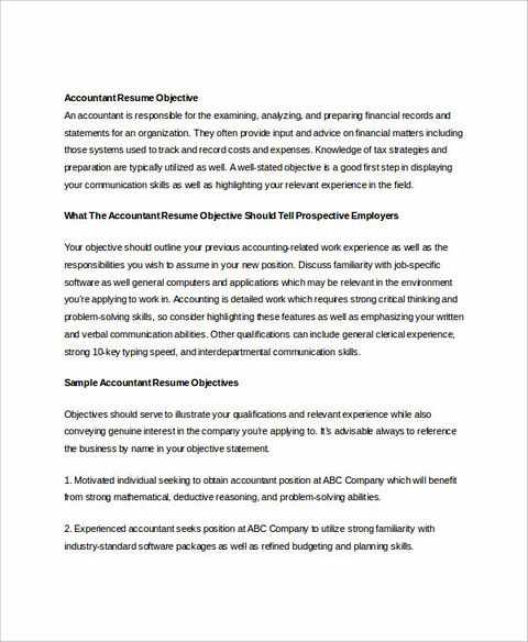 sample of objectives for accounting resume