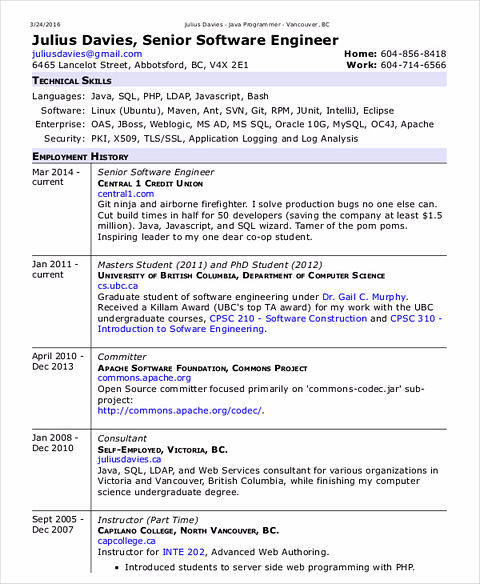 software developer resume sample old version old version old