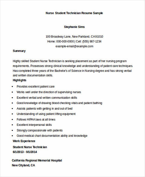 Nursing Student Resume Samples and Tips - nursing student resume sample