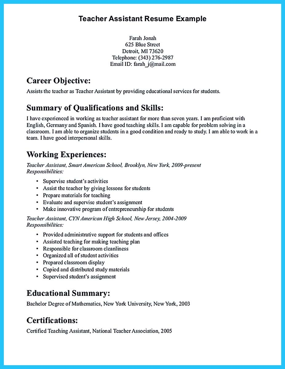 sample resume for teacher assistant dazzling ideas resume teacher 11 free sample teacher resume example sample