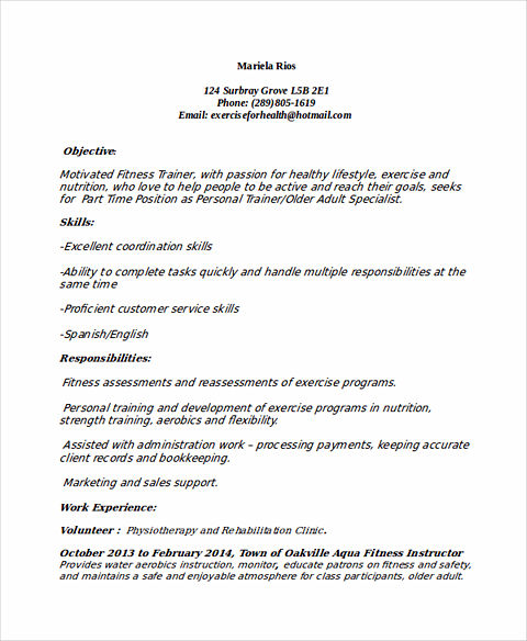 Personal Trainer Resume Sample and Tips - trainer resume sample