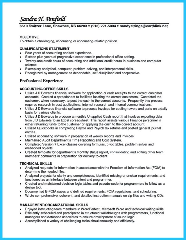 professional profile resume examples accounting create