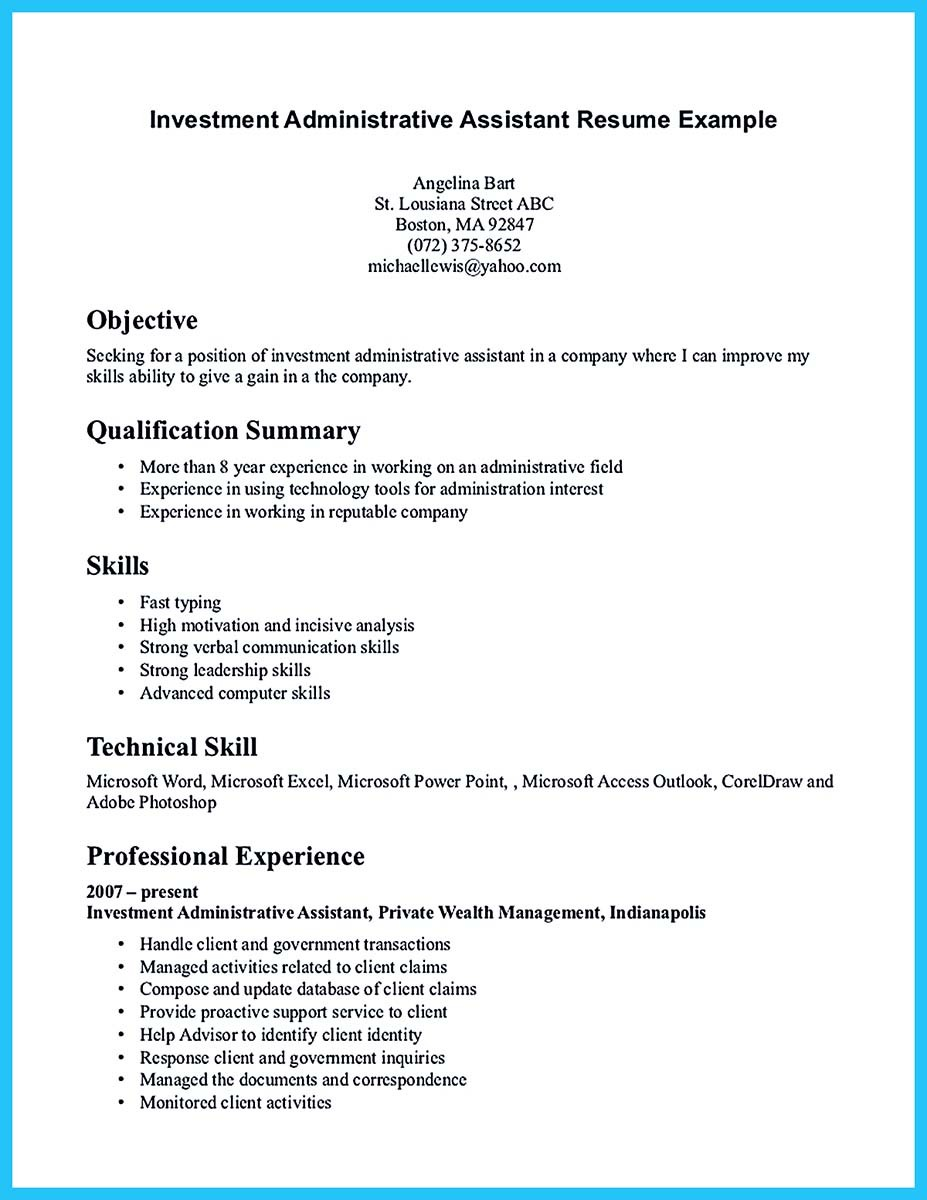 resume cover letter sample for administrative assistant