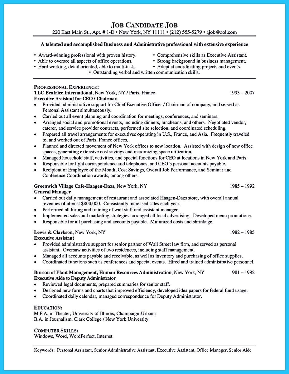 good sample resume for administrative assistant
