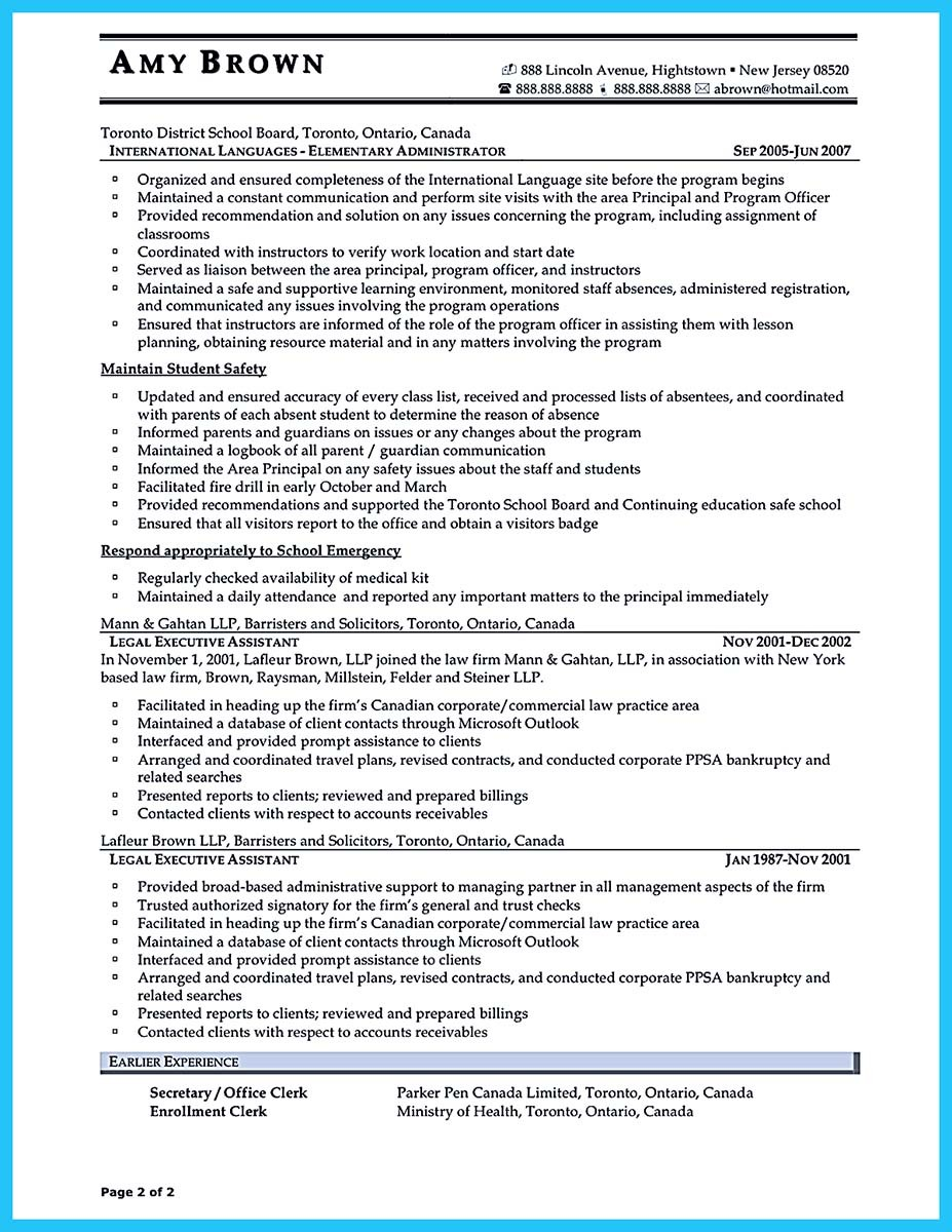 resume examples for administrative assistant positions