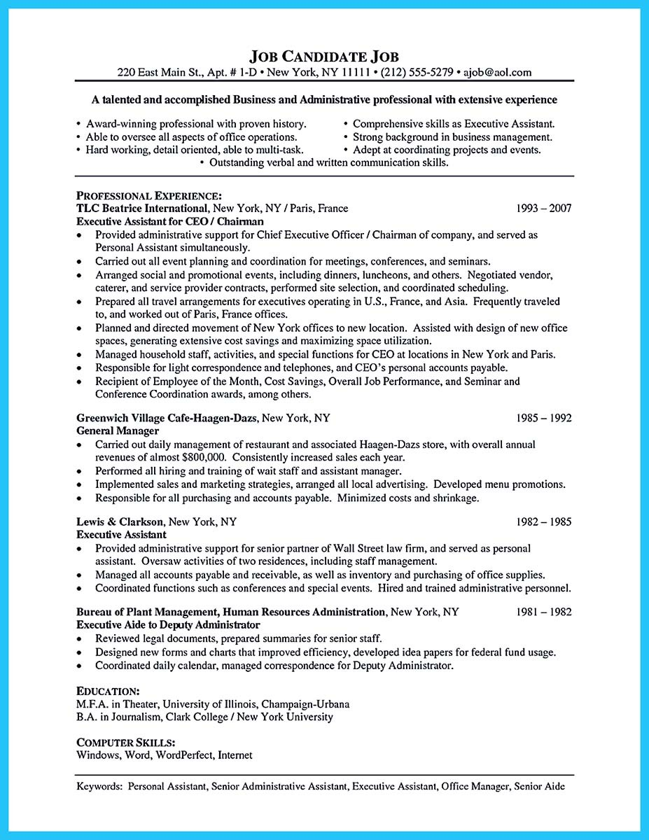 resume for administrative job