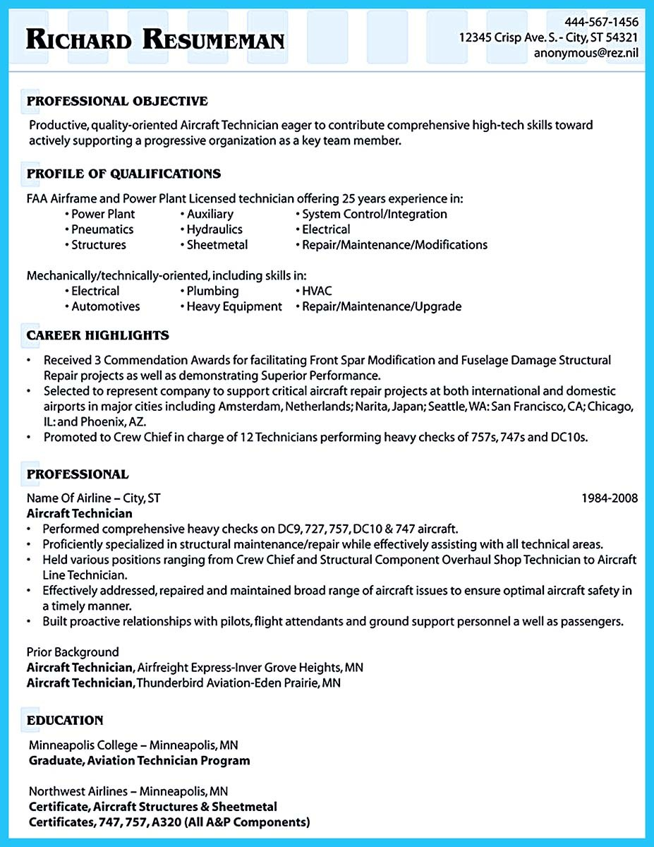 resume examples for aircraft mechanic