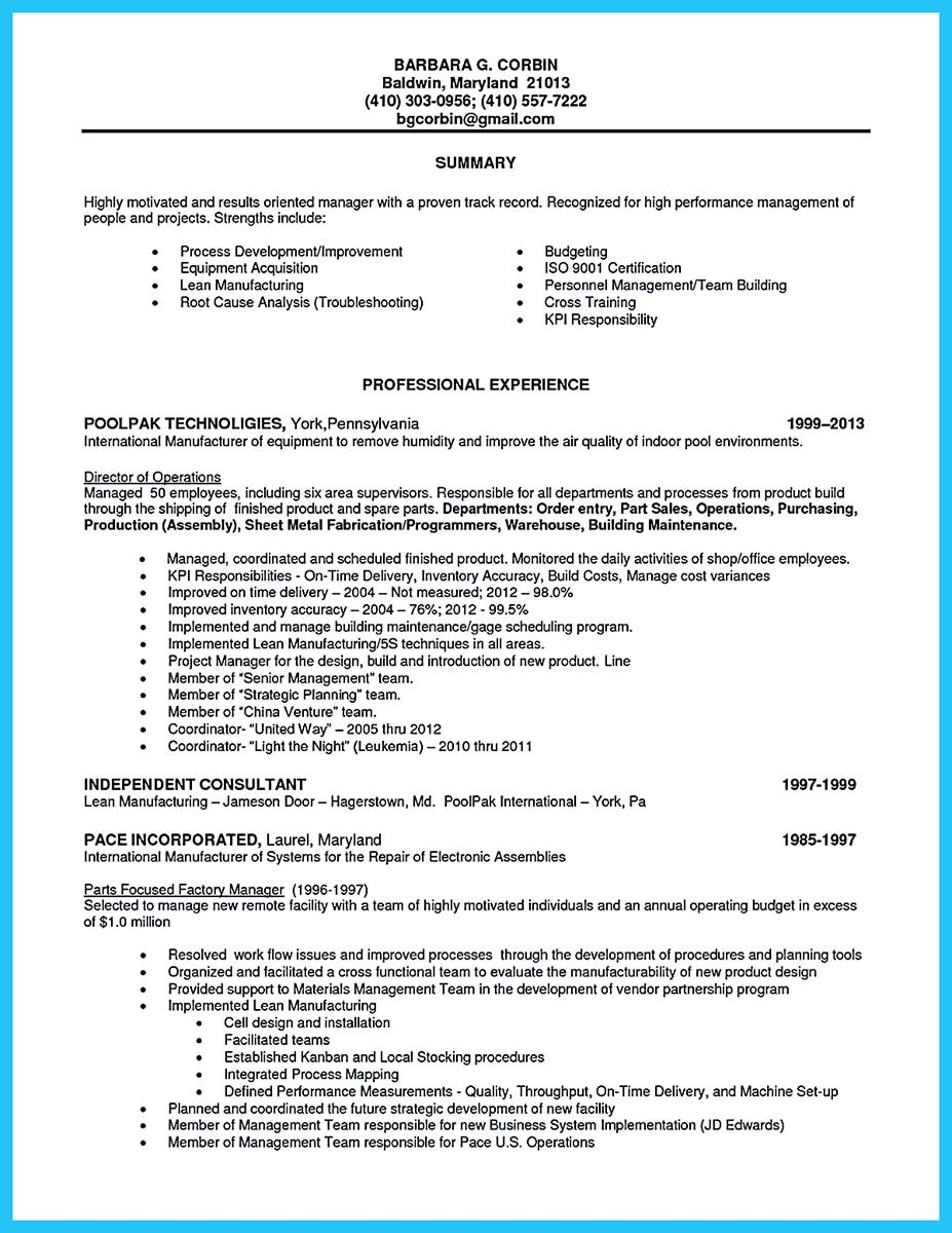 resume summary examples for production worker