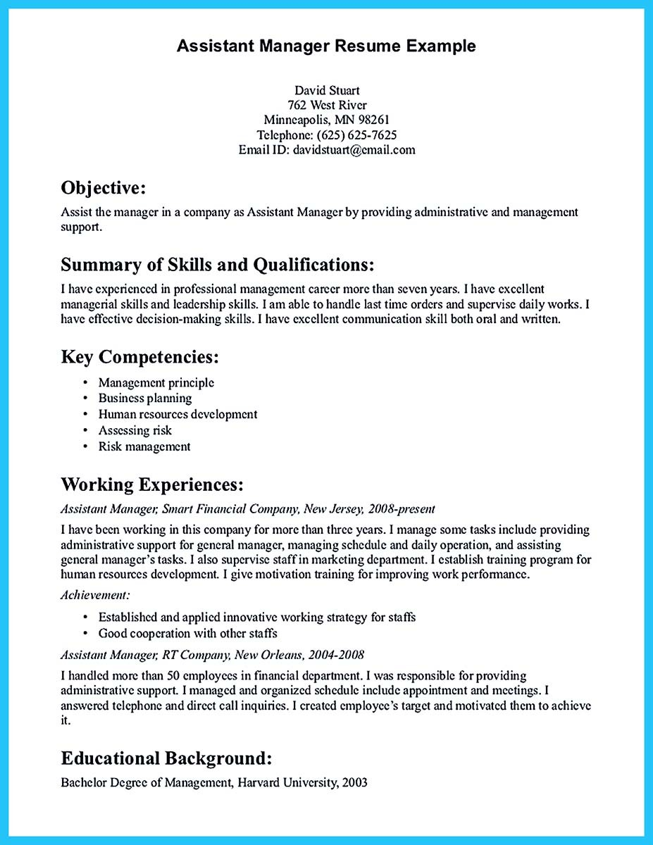 resume examples of management skills