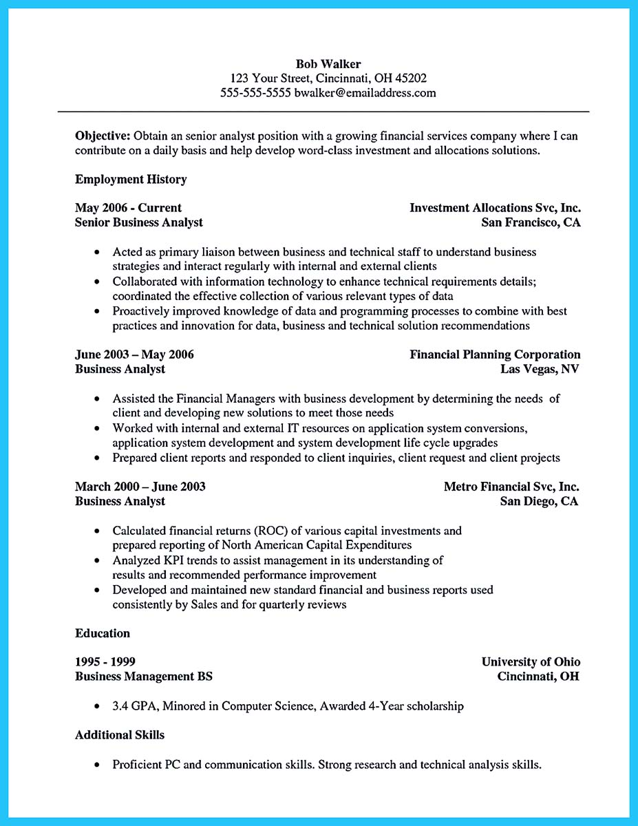 Sample resume for government management analyst