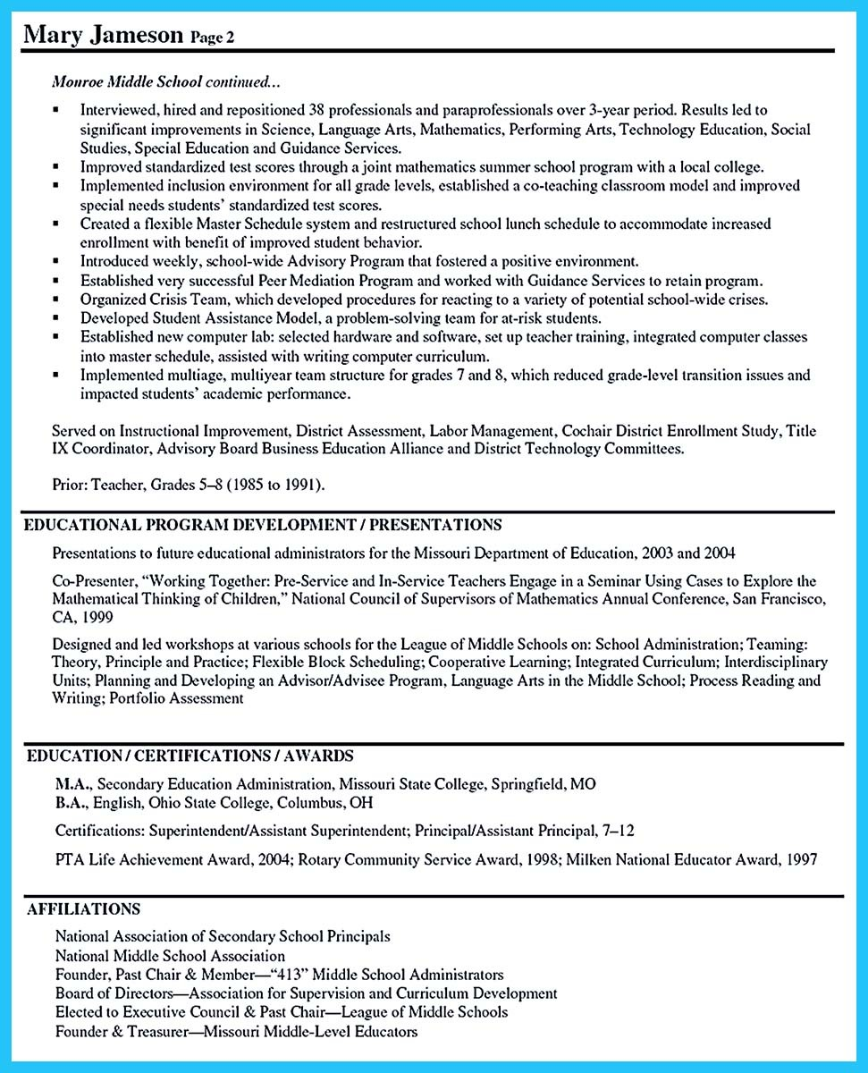 sample resume for principal position
