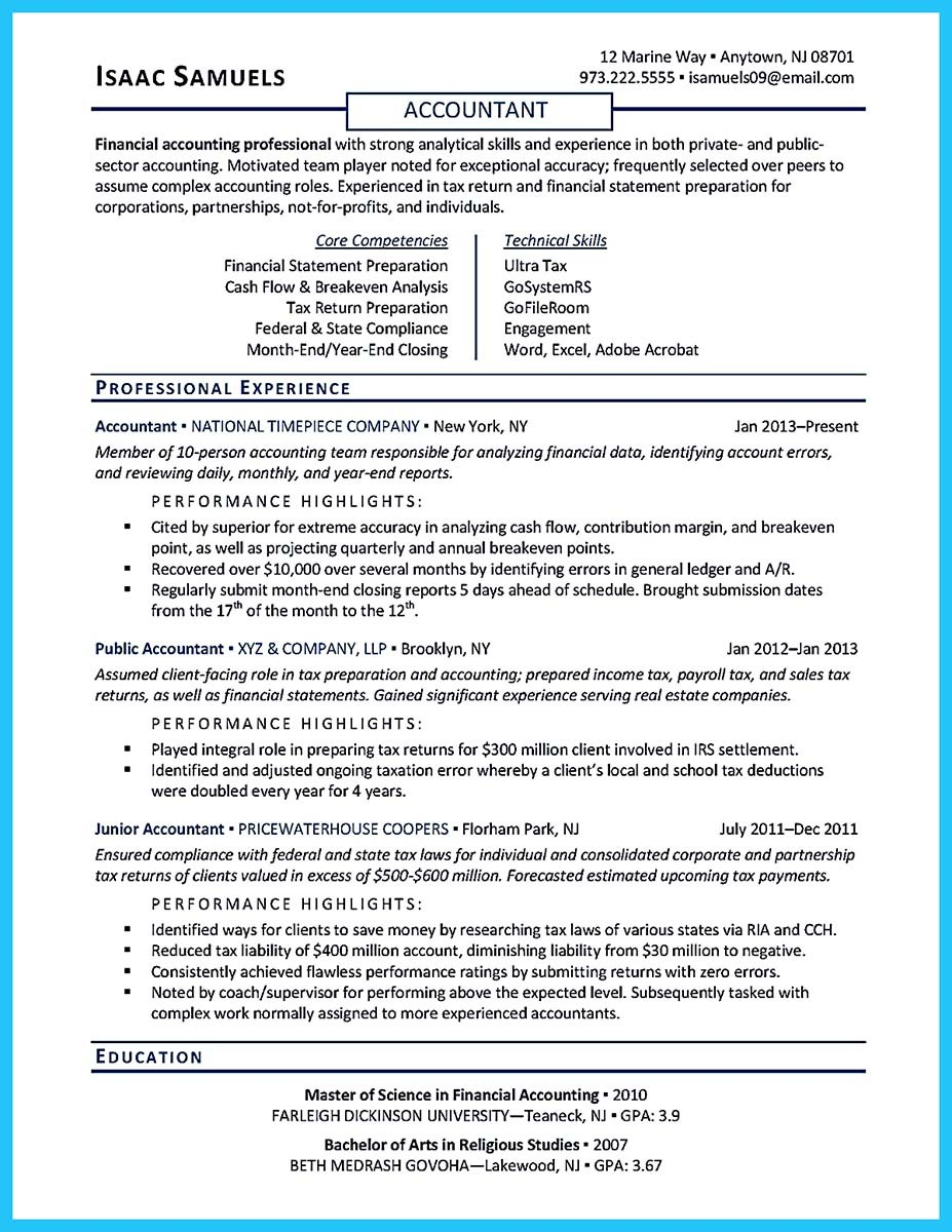 resume education information
