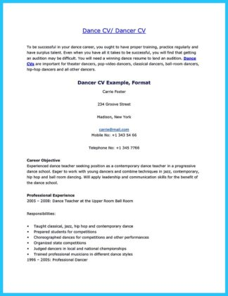 Dance Resume Professional Dance Resume Sample Dance Resumes Sample