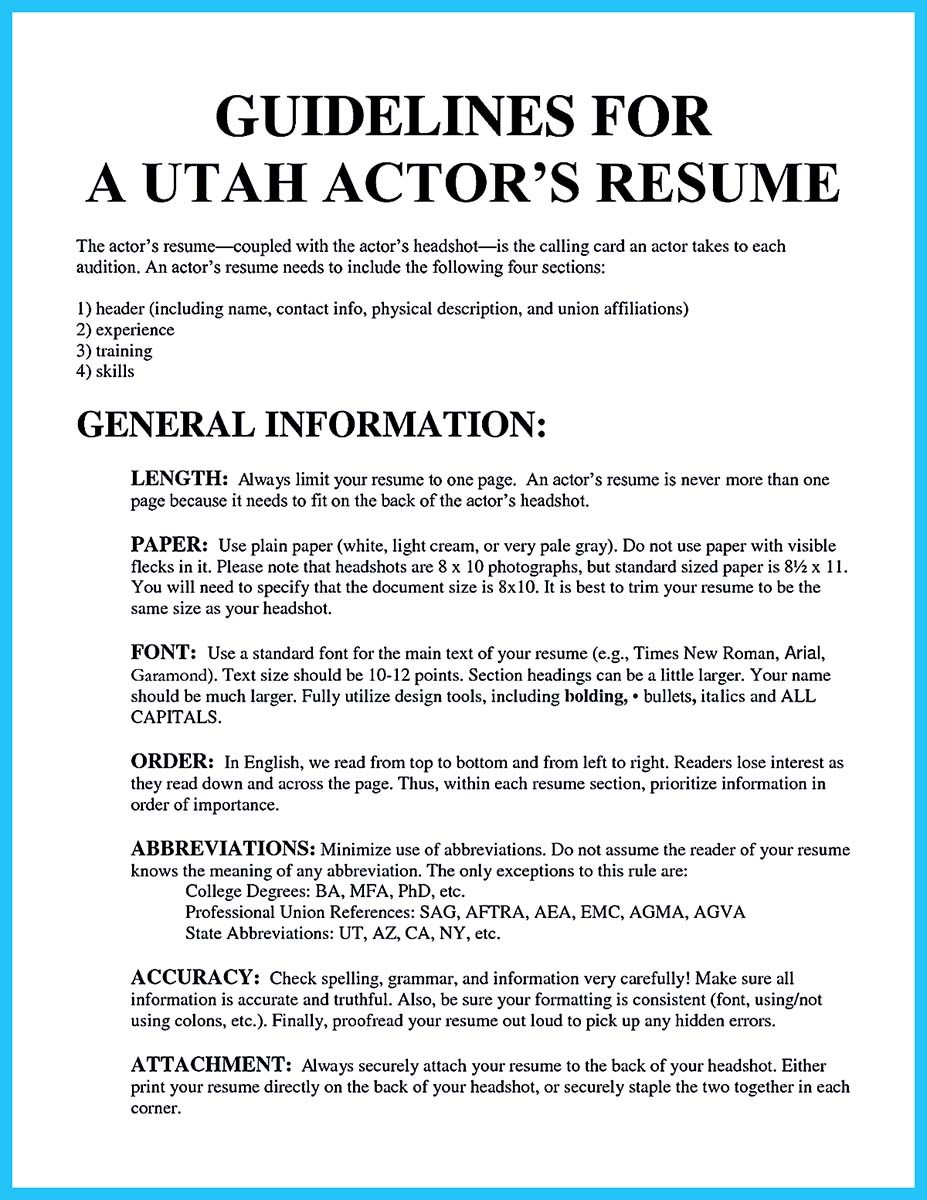 how to write a resume for an audition