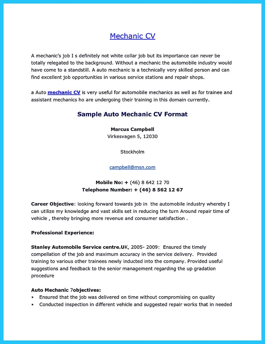 sample resume for auto mechanic assistant