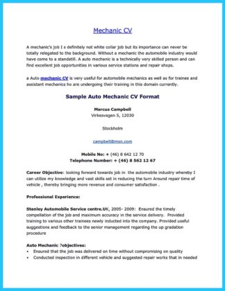 mechanic resume examples resume example and free resume maker auto mechanic resume sample - Auto Resume Maker
