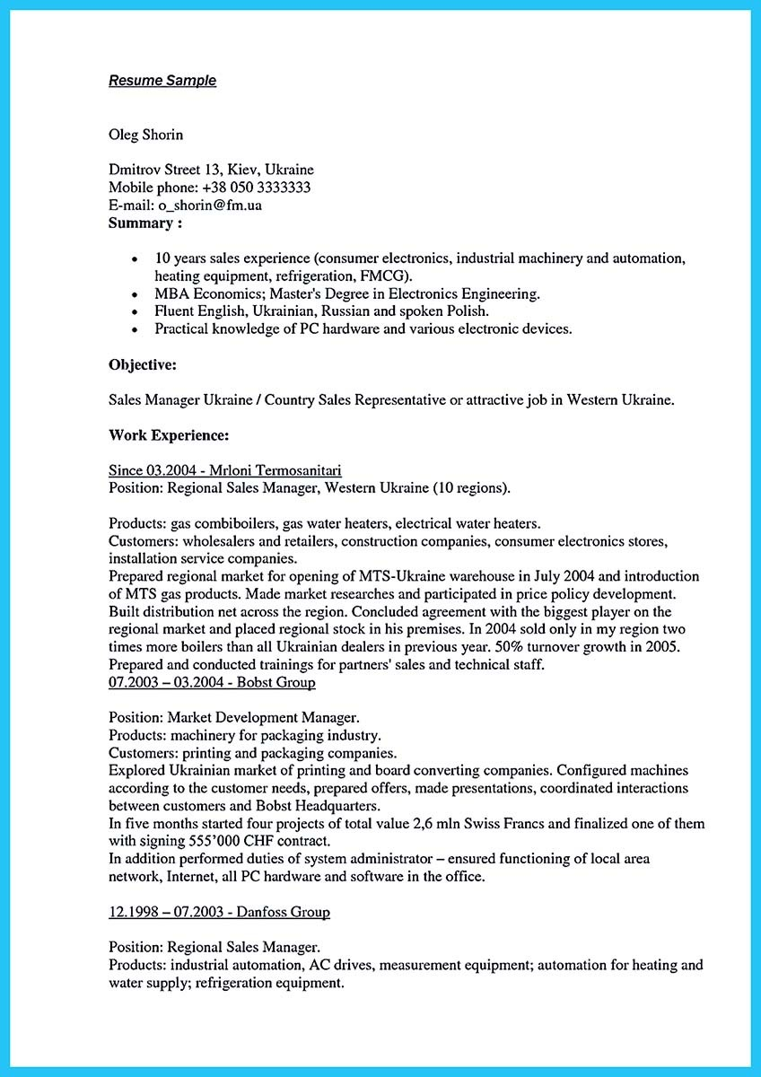 resume objective examples for sales