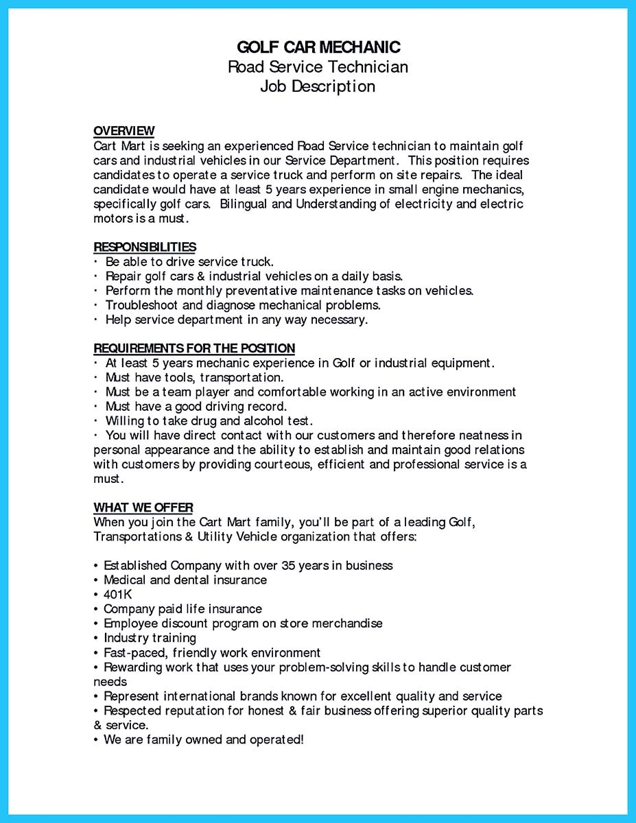 resume objective for auto body mechanic samples