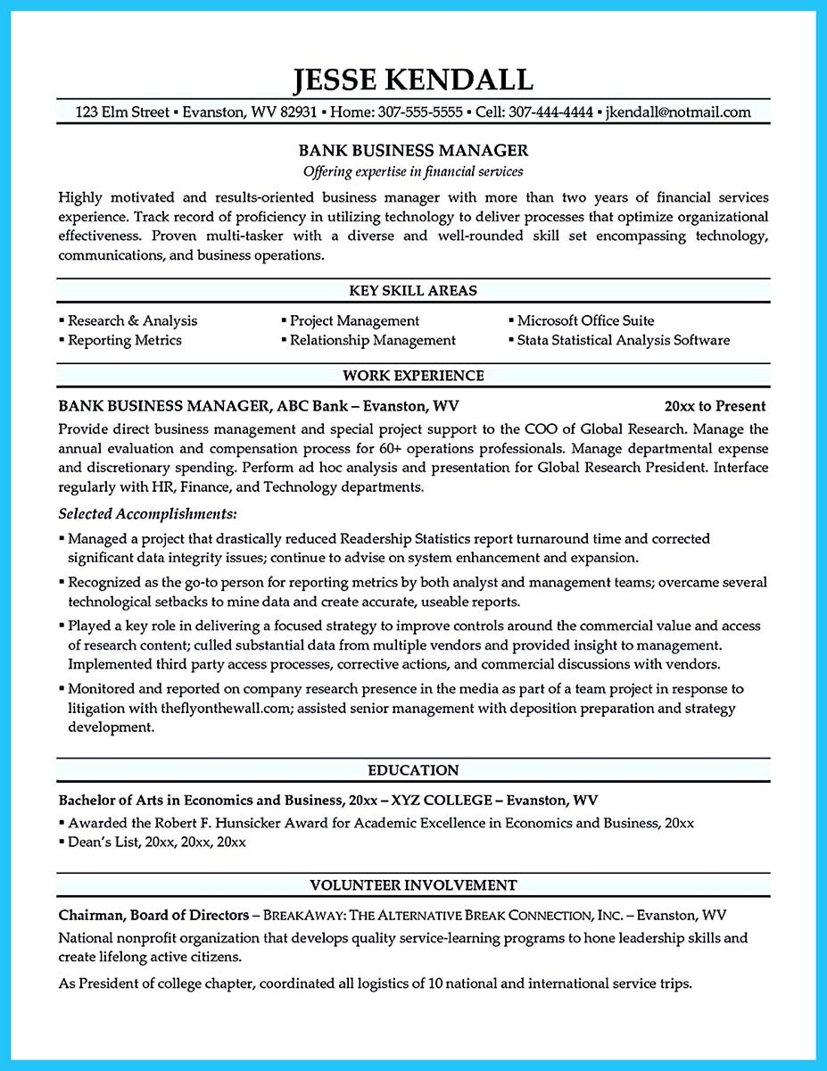 resume cover letter for bank manager