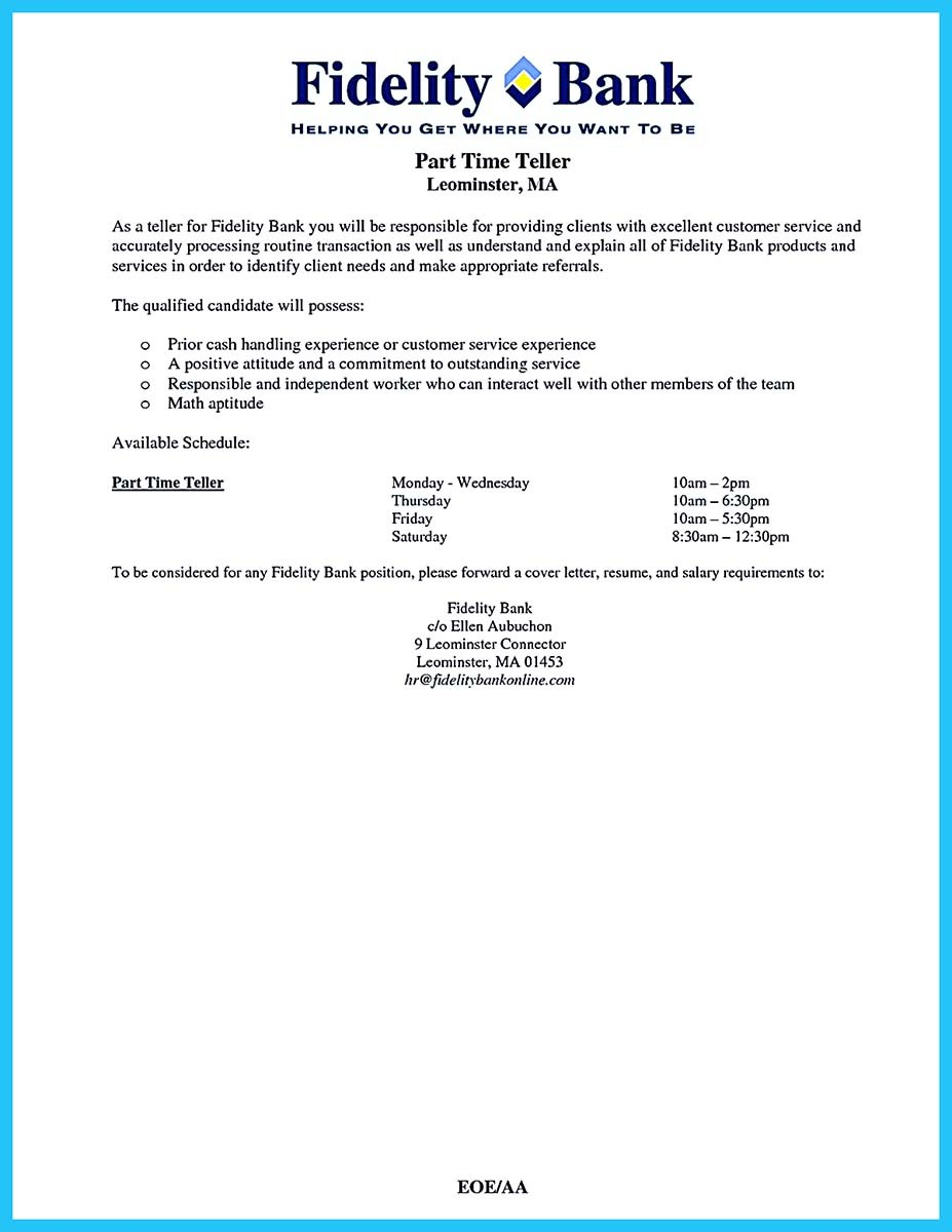 Sample Resume Objective Statements Bank Teller – Bank Teller Job Description