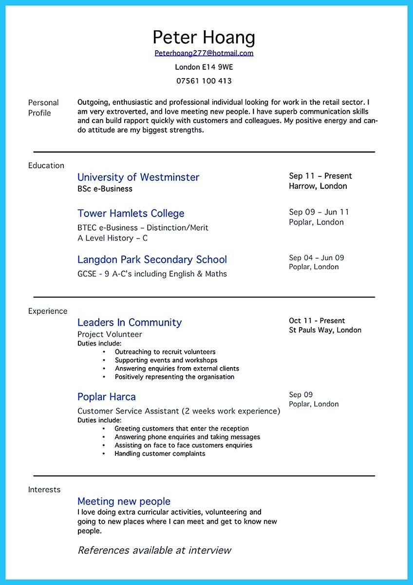 resume examples for your first job